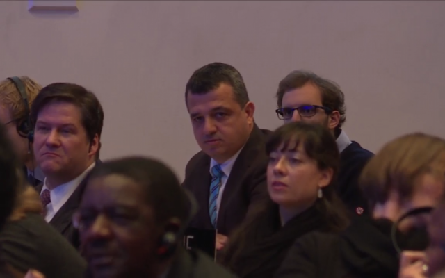 Israel's ambassador to UNESCO, Carmel Shama-Hacohen watches on as the World Heritage Committee votes on a resolution ignoring Jewish and Christian ties to Jerusalem's Old City in Paris, October 26, 2016 (screen shot UNESCO website)