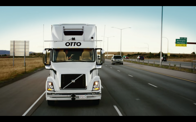 Otto's self driving truck carries a shipment of Budweiser 120 miles with no driver in the seat. (YouTube screenshot)