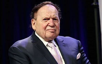 Casino magnate Sheldon G. Adelson in attendance at the 4th Annual Champions Of Jewish Values International Awards Gala at Marriott Marquis Times Square on May 5, 2016 in New York City.  (Photo by Steve Mack/Getty Images, via JTA)