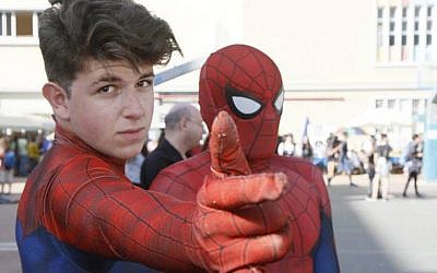 Two young men wearing Spider-Man costumes at the Icon Festival in Tel Aviv, October 19, 2016. (Dan Ofer/JTA)