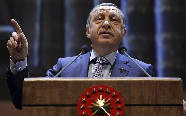 Turkish President Recep Tayyip Erdogan speaks during a meeting in Ankara, Turkey, Wednesday, Oct. 12, 2016. (Murat Cetinmuhurdar/ Presidential Press Service, Pool photo via AP)