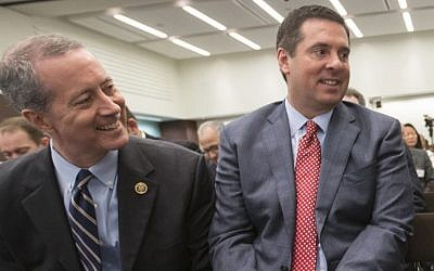House Intelligence Committee Chairman Rep. Devin Nunes, R-Calif., right, and House Armed Services Committee Chairman Rep. Mac Thornberry, R-Texas, left, talk in Washington, June 9, 2016. (AP/J. Scott Applewhite)