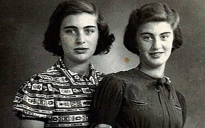 Carry Ulreich, right, and her older sister, Rachel, in a photograph taken during their time in hiding in Rotterdam during the Nazi occupation. (Boekencentrum/Mozaïek/JTA)
