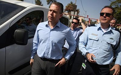 Public Security Minister Gilad Erdan at the scene of a Jerusalem terror attack, October 9, 2016. (Hadas Parush/Flash90)