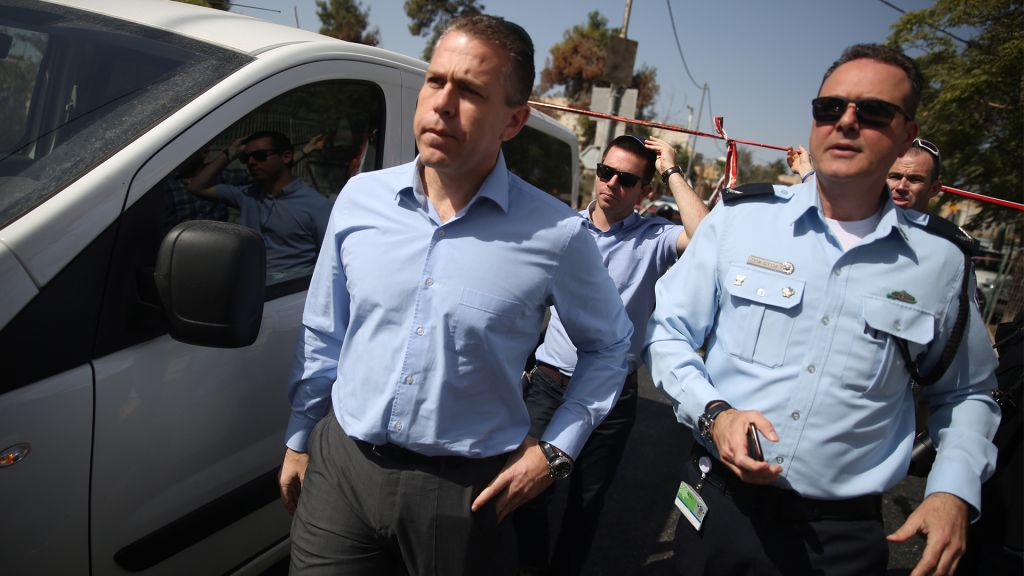 Public Security Minister Gilad Erdan at the scene of a Jerusalem terror attack, October 9, 2016. (Hadas Parush/Flash90)