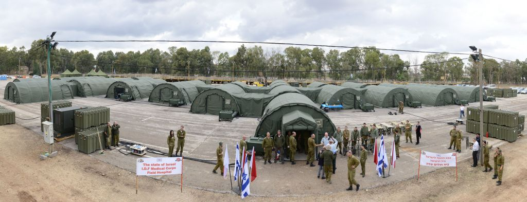 A 26-tent IDF field hospital set up during an exercise in Beit Naballah, in central Israel, on December 9, 2013. (IDF Spokesperson's Unit)