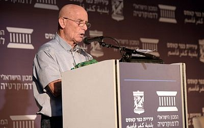Ami Ayalon, ex-Shin Bet chief, speaking at event about the 1956 Kafr Kassem massacre and its relevance to current Jewish-Arab relations in the State of Israel. (Photo credit: Yossi Zelinger)