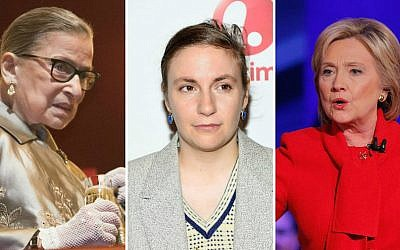 From left: Ruth Bader Ginsburg, Lena Dunham and Hillary Clinton all made public apologies this year. (Getty Images/JTA)