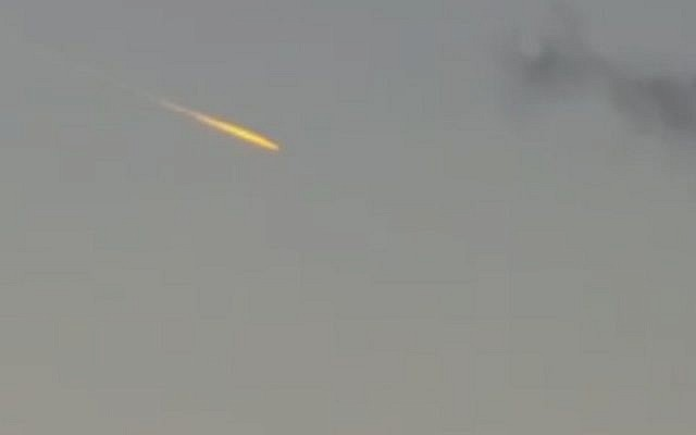 A mysterious orange fireball is seen in the skies over Israel on October 24, 2016 (Channel 2 News)