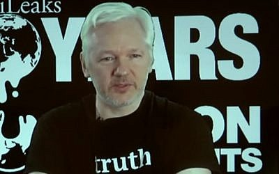 WikiLeaks founder Julian Assange addresses a press conference held by the organization in Berlin on October 4, 2016. Assange is holed up in the Ecuadorean embassy in London, to evade an extradition request by Sweden over rape allegations. (screen capture: YouTube)