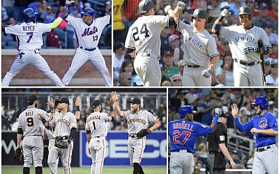 Players from the following teams, clockwise from top left: New York Mets, New York Yankees, Chicago Cubs and San Francisco Giants. (Getty Images via JTA)