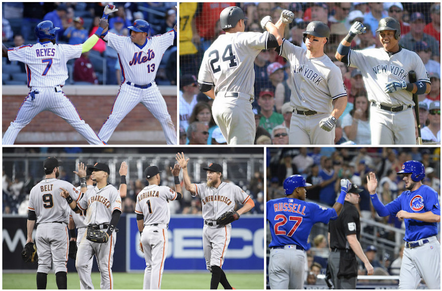 d0315345d Players from the following teams, clockwise from top left: New York Mets,  New