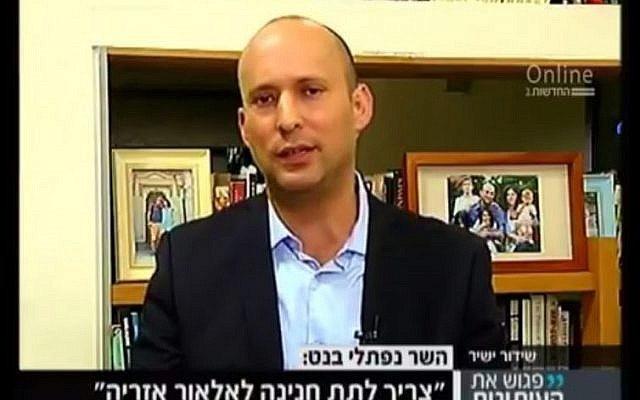 Jewish Home party leader Naftali Bennett speaks during a Channel 2 interview on October 8, 2016. (screen capture: Channel 2)
