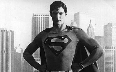 24-year-old American film actor Christopher Reeve stands before the Manhattan skyline dressed as the comic-book hero of the film 'Superman'. (Keystone/Getty Images)