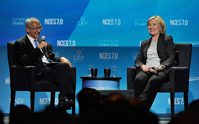 John Podesta and Hillary Clinton attending the National Clean Energy Summit 7.0 in Las Vegas, September 4, 2014. (David Becker/Getty Images for National Clean Energy Summit via JTA)