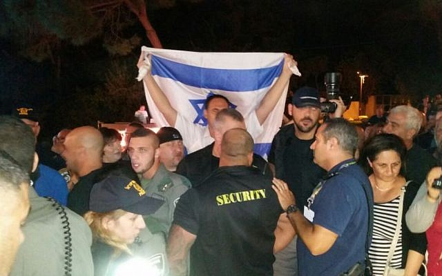Protesters at the concert of  Israeli Arab rapper Tamer Nafar in Haifa on October 18, 2016 (Mhassan Nasser/Joint List spokesperson)