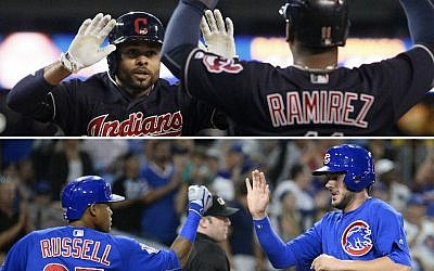 Players from the Cleveland Indians, top, and Chicago Cubs exchanging congratulations. (Getty Images/JTA)