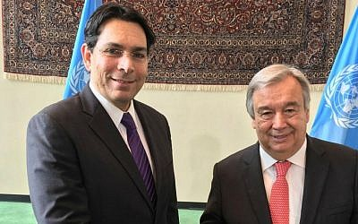 Antonio Guterres, newly confirmed as incoming UN secretary-general, with Israel's envoy to the UN Danny Danon, soon after the appointment of Guterres was endorsed, October 13, 2016 (Courtesy)