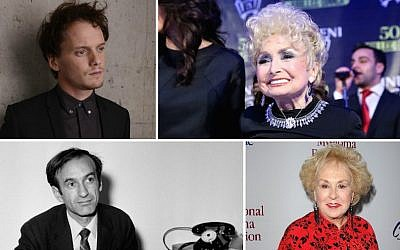 Clockwise from top left: Anton Yelchin, Esther Jungreis, Doris Roberts and Elie Wiesel (Getty Images/JTA)