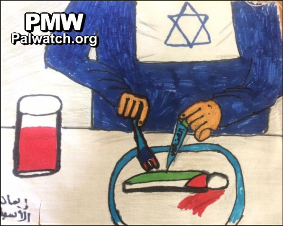 One of several Palestinian children's drawings posted on the Facebook page of Fatah, the political party of PA President Mahmoud Abbas, October 11, 2016 (Source: Palestinian Media Watch)