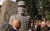 A statue of Alfred Dreyfus is erected in Mulhouse, France, October 21, 2016. (Screenshot)