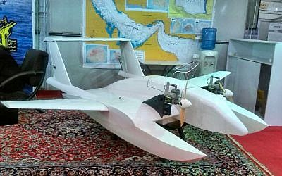 A suicide drone developed by Iran's elite Revolutionary Guards, October 26, 2016 (AFP)