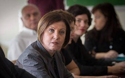 Meretz chairwoman Zehava Galon leads the party's weekly faction meeting at the Knesset, November 2, 2015. (Miriam Alster/Flash90)