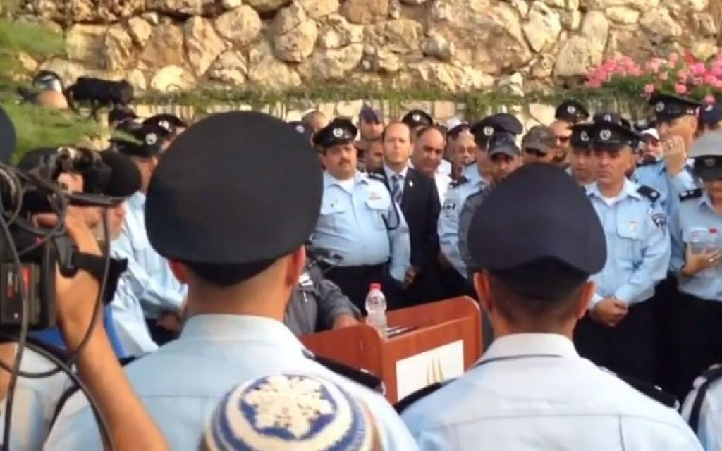 Funeral of police officer First Sergeant Yosef Kirma, 29, killed in terrorist attack, October 9, 2016 (Screen capture: Facebook)