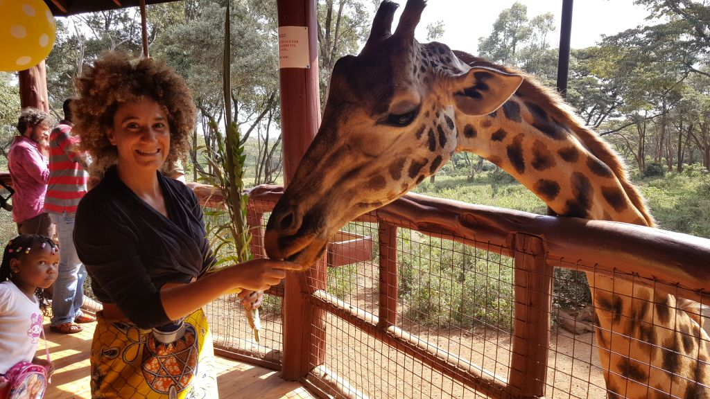 I did get the intended selfie with Betty the Giraffe at the Giraffe Center in Nairobi on October 16, 2016, before Betty had her little snack. Now I'll know better than to take selfies with leafy branches and large animals. (Gail DeGeorge/Global Sisters Report)