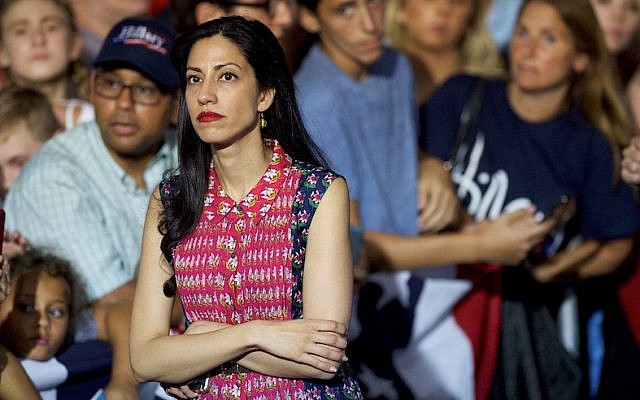 Huma Abedin waiting while Hillary Clinton greets supporters after holding a rally with Vice President Joe Biden at Riverfront Sports athletic facility in Scranton, Pennsylvania, Aug. 15, 2016. (Mark Makela/Getty Images/JTA)