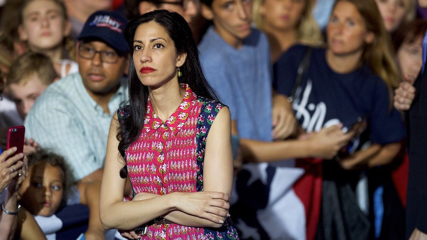 Huma Abedin waiting while Hillary Clinton greets supporters after holding a rally with Vice President Joe Biden at Riverfront Sports athletic facility in Scranton, Penn., Aug. 15, 2016. (Mark Makela/Getty Images/JTA)