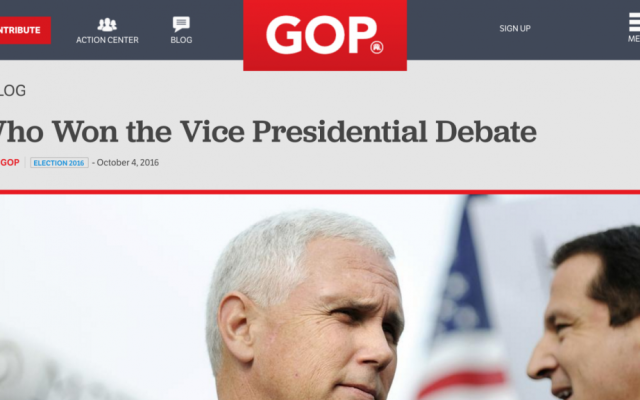 A screenshot from the Republican National Committee website on October 4, 2016, claiming victory for Mike Pence in the vice presidential debate, 90 minutes before it began.