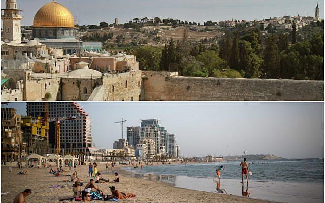 Jerusalem, top, and Tel Aviv (Jerusalem: Gil Cohen/AFP/Getty Images; Tel Aviv: Miriam Alster/Flash90)