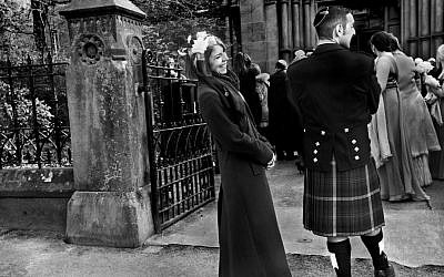 Photographer Judah Passow said that in this picture of a guest wearing a tartan kilt at a Jewish wedding, there was also a bagpiper present. But Passow decided it was too cliche to include him. (Judah Passow)