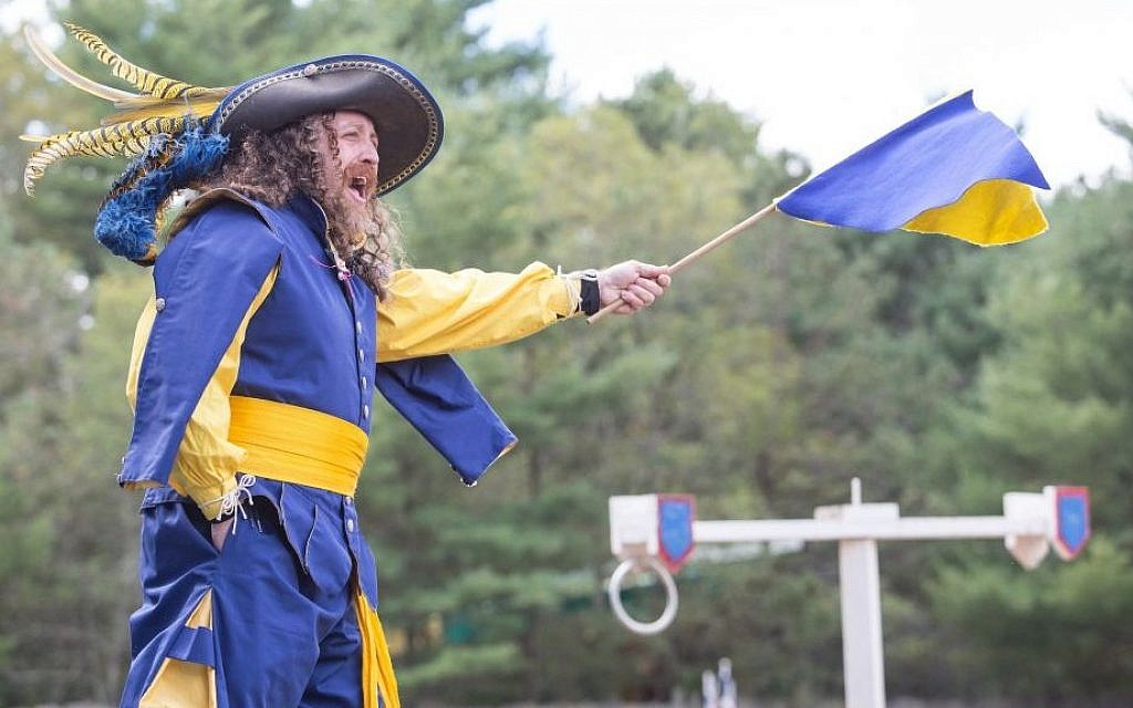 Performer Joshua Rudy appears in King Richard's Faire as the master-at-arms in Carver, Massachusetts, September 24, 2016 (Elan Kawesch/The Times of Israel)