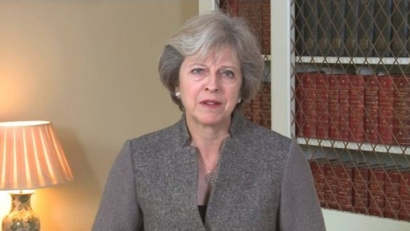 British Prime Minister Theresa May delivers a Rosh Hashana greeting to Britain's Jewish community on October 2, 2016. (screen capture: YouTube)