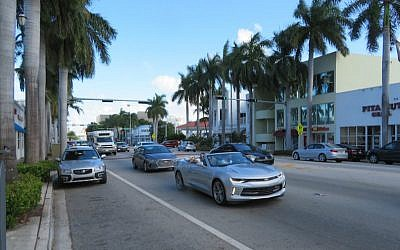 A scene on 41st Street, the shopping and dining district of Miami Beach's Orthodox Jewish community, Oct. 14, 2016. (Ron Kampeas/JTA)