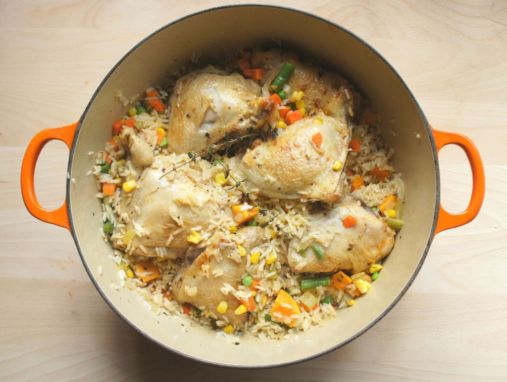 One pot chicken and rice with vegetables (Shannon Sarna/JTA)