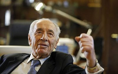 Shimon Peres during an interview in the President's Residence in Jerusalem, April 10, 2013. (Lior Mizrahi/Getty Images/JTA)