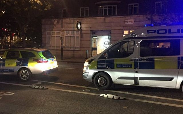 Police cars near an UCL campus event featuring Israel advocate Hen Mazzig in London on October 27, 2016 in which attendees had to be escorted out because of pro-Palestinian protesters. (Elliot Miller/Twitter)