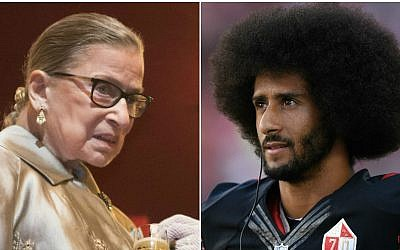 Supreme Court Justice Ruth Bader Ginsburg, left. (Chris Kleponis/AFP/Getty Images via JTA) Colin Kaepernick, right. (Thearon W. Henderson/Getty Images via JTA)