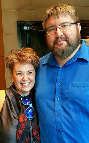 Ryan Bellerose, who founded a pro-Israel organization before taking the B'nai Brith job, with comic actress Roseanne Barr. (Courtesy of Bellerose/JTA)
