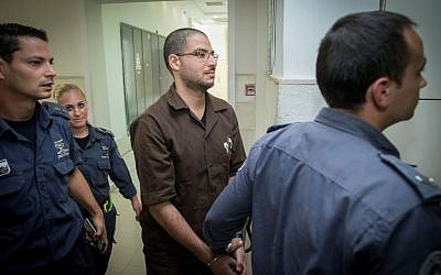 Said Komboz arrives to the Jerusalem District court on October 26, 2016. Komboz was sentenced to 17 years in prison after he stabbed an Israeli soldier near the central bus station in Jerusalem last year. (Yonatan Sindel/Flash90)