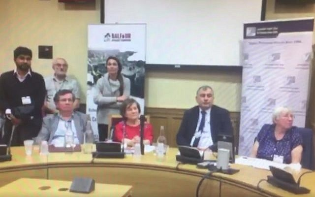 British peer Jenny Tonge (center) and other panelists listen during an anti-Israel meeting at the House of Lords on October 25, 2016 as an audience member blames Jews for antagonzing Hitler into carrying out the Holocaust (screen capture: Facebook)