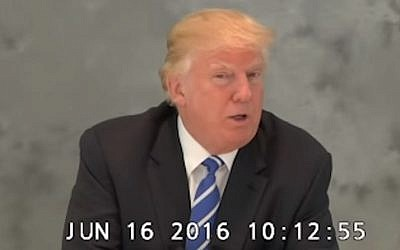 Donald Trump speaks during a videotaped deposition made on June 16, 2016. The footage was released under court order on Sept. 30 following requests filed by a coalition of media companies. (screen capture: YouTube)