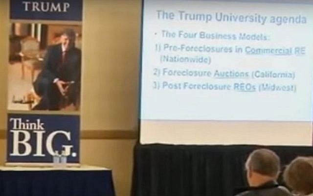 A Trump University lecture (YouTube screenshot)