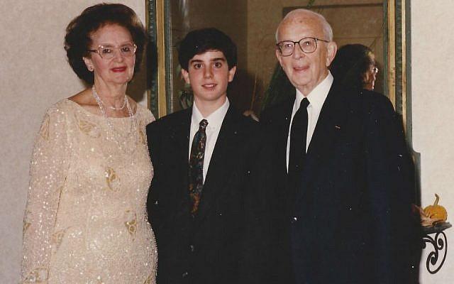 Alex Levin as a boy with his grandparents, Hadassah and Rabbi Judah Nadich. (Courtesy)