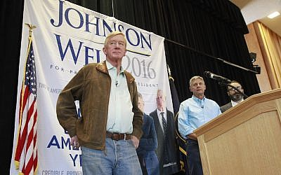 Bill Weld, left, with his running mate, Libertarian presidential candidate Gary Johnson, at a rally in Salt Lake City, Aug. 6, 2015. (George Frey/Getty Images/JTA)