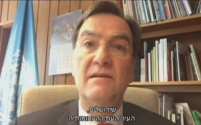 Head of UNESCO's Executive Board Michael Worbs in an interview to Israel's Channel 10 on Friday, October 14 2016. (Screen capture Channel 10)