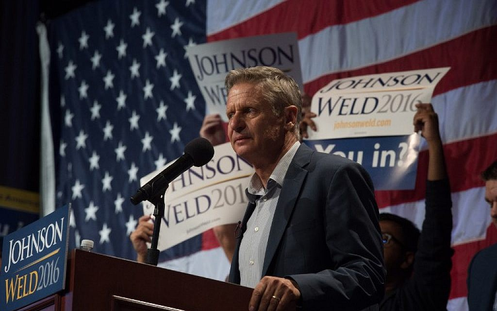 This file photo taken on September 10, 2016 shows Libertarian presidential candidate Gary Johnson speaking to supporters at a rally in New York. (AFP/Bryan R. Smith)